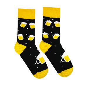 Veselé ponožky Pivko Barva: černá/žlutá, Velikost: 39-42